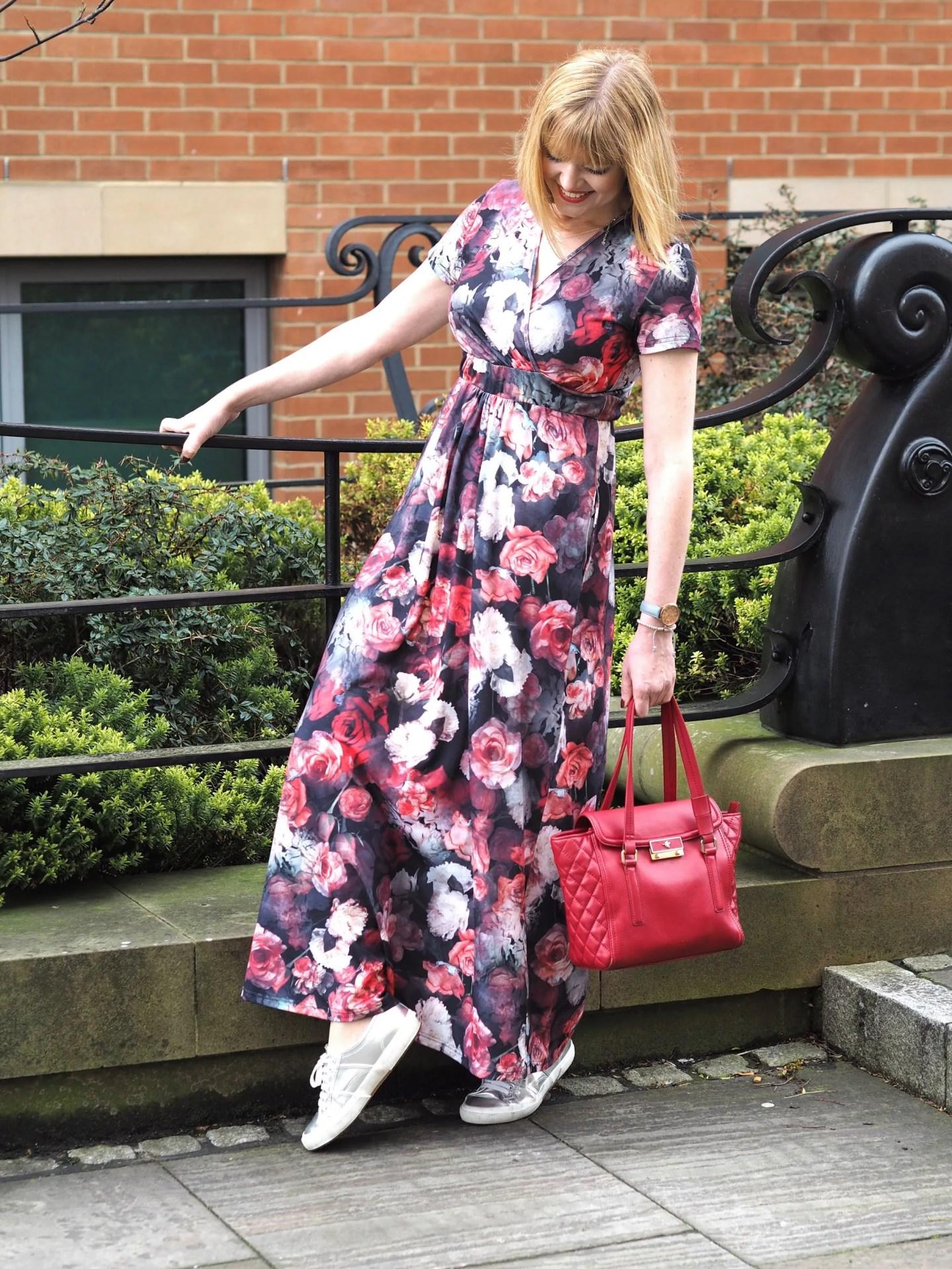 what Lizzy Loves Hotsquash floral maxi wrap dress