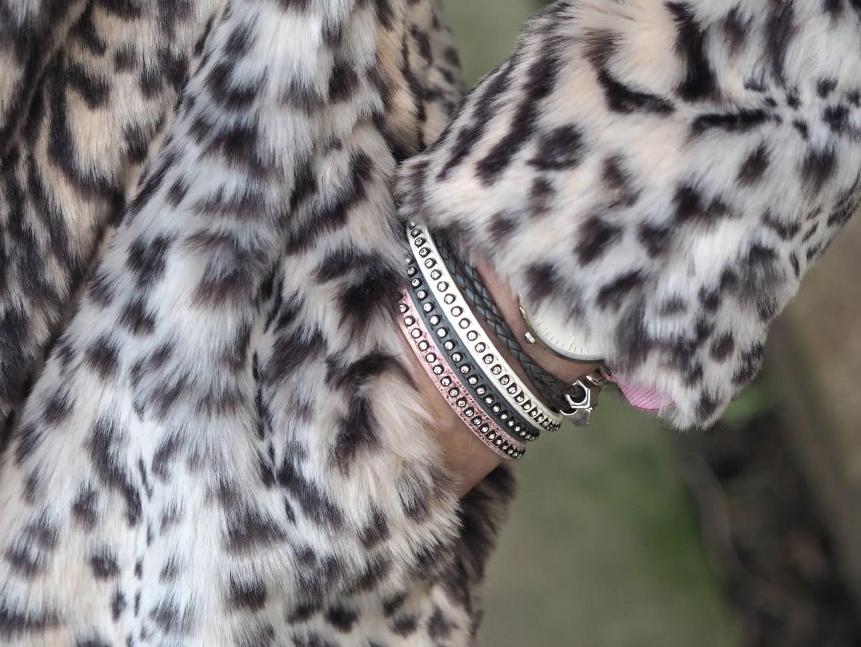 diamante bracelet leopard coat