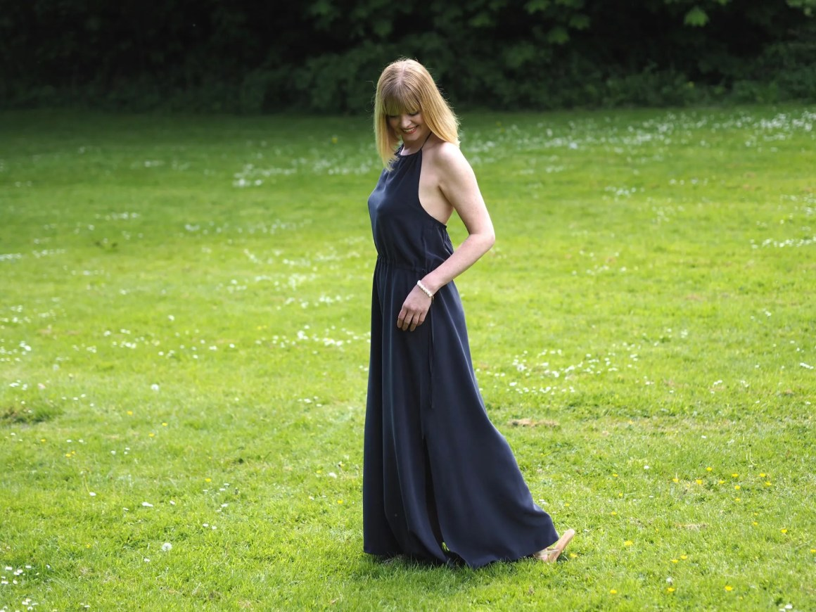 what Lizzy loves the white company silk navy maxi dress