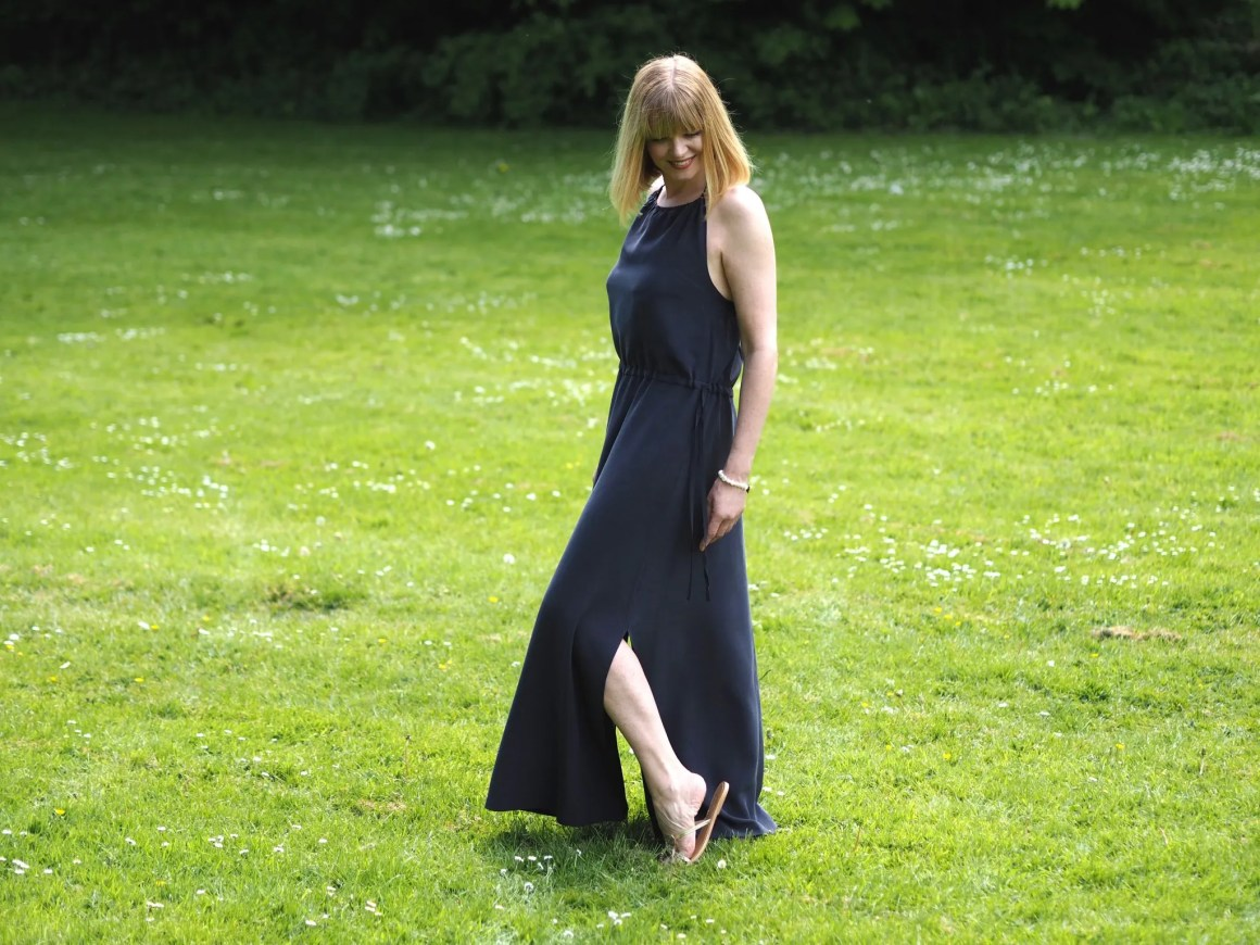 what Lizzy loves silk navy maxi dress flip flops