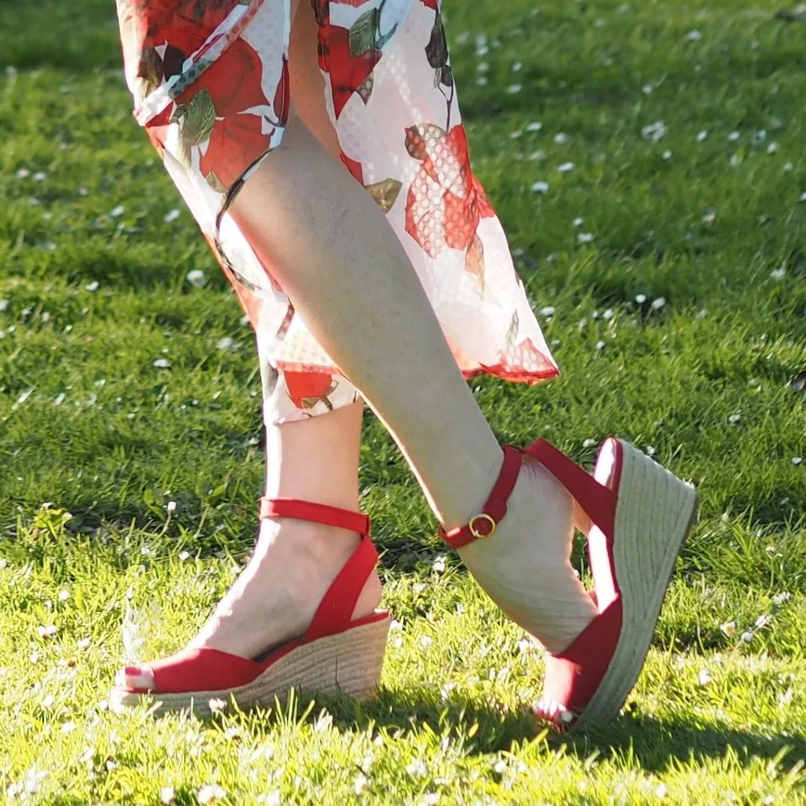what lizzy loves draped roses dress red espadrilles
