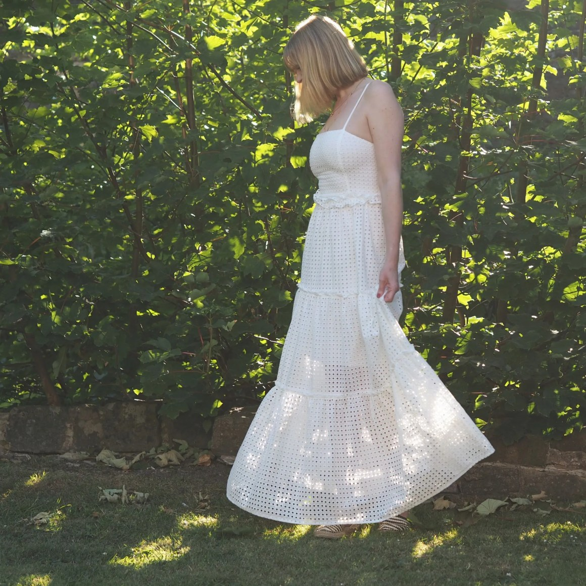 what lizzy loves broderie white maxi dress
