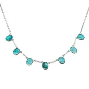 Silver and Aquamarine Gemstone Necklace