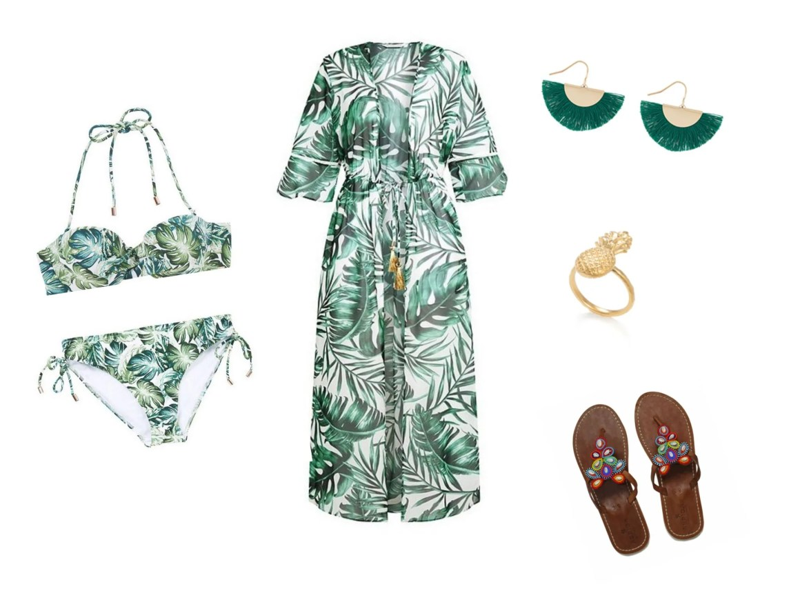 what lizzy loves tropical print leaf bikini kaftan