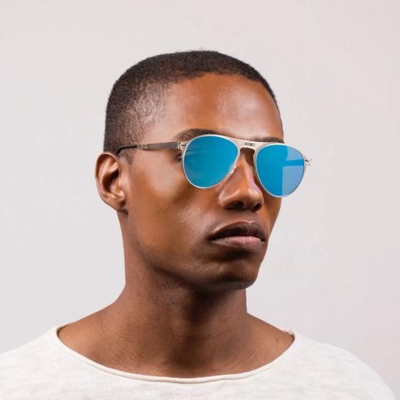 Roav eyewear Earhart silver frames blue lenses