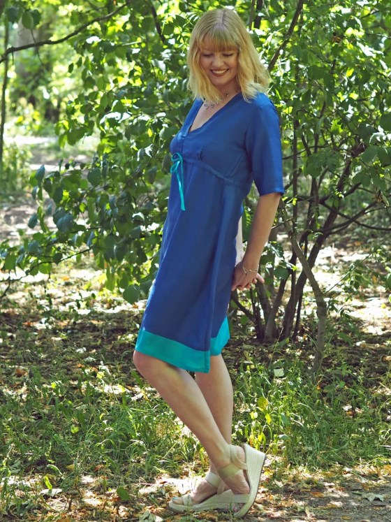 what lizzy loves lapis and turquoise silk dress