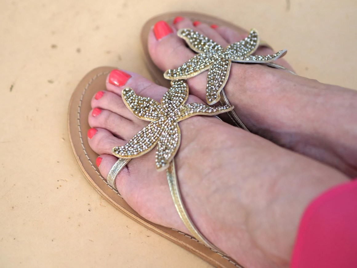 aspiga beach gold starfish sandals