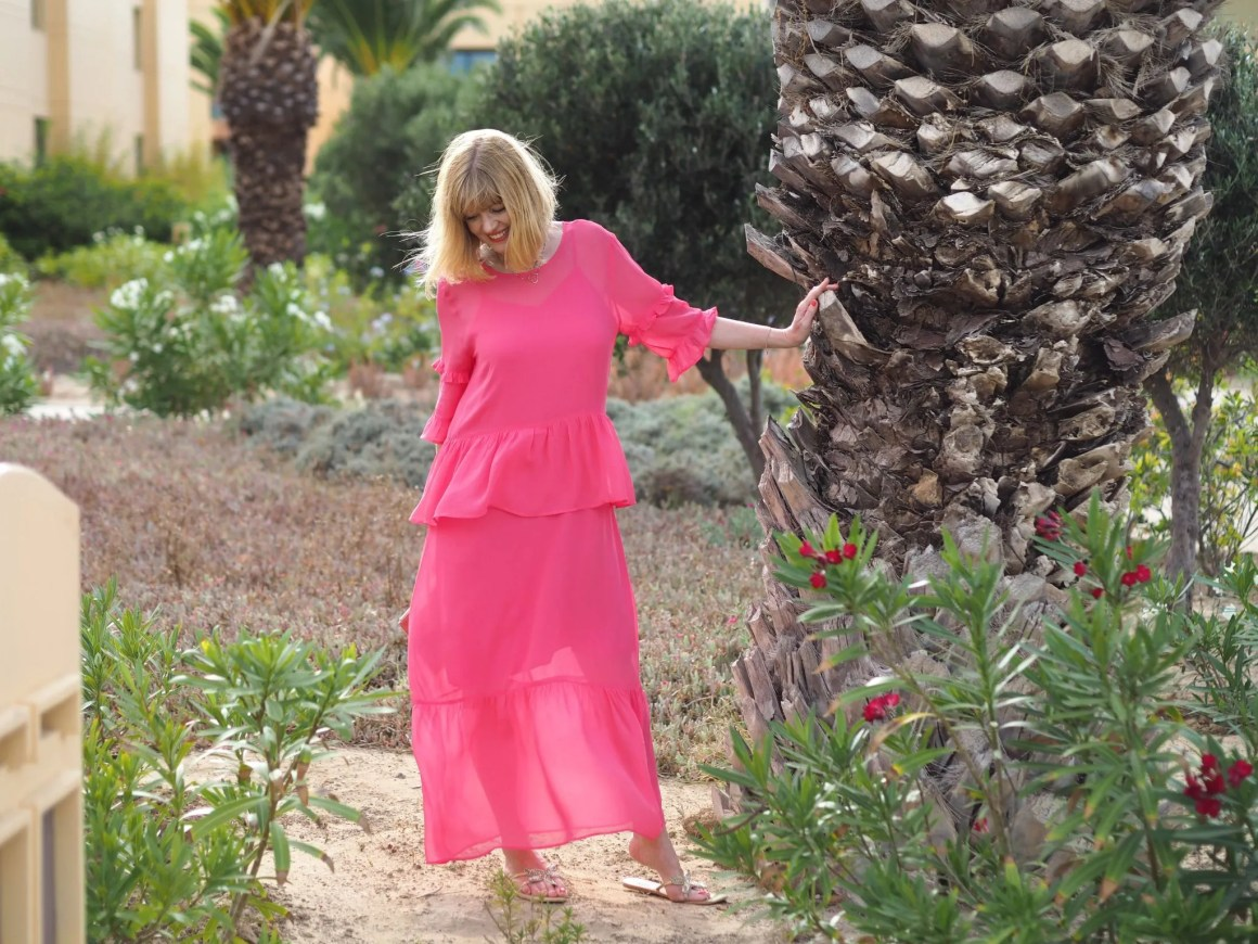 what lizzy loves raspberry ruffle maxi dress pink