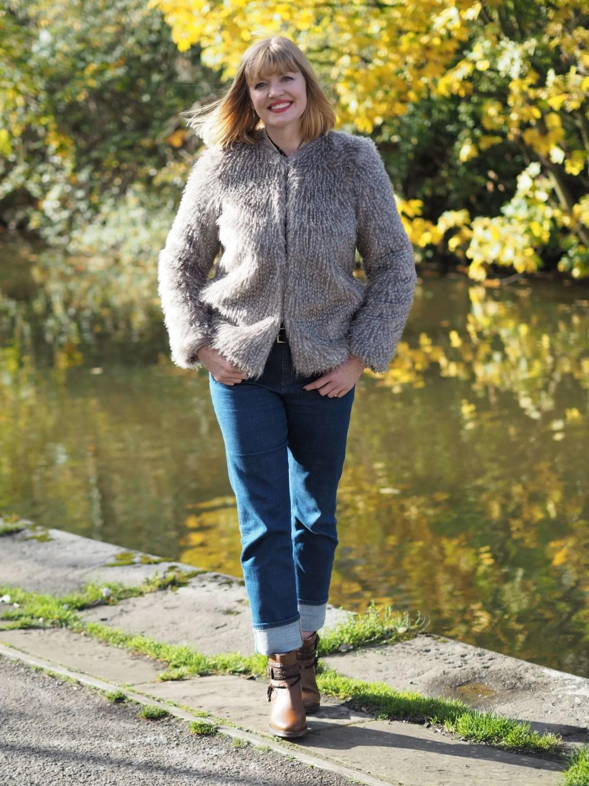 faux fur jacket girlfriend jeans biker boots