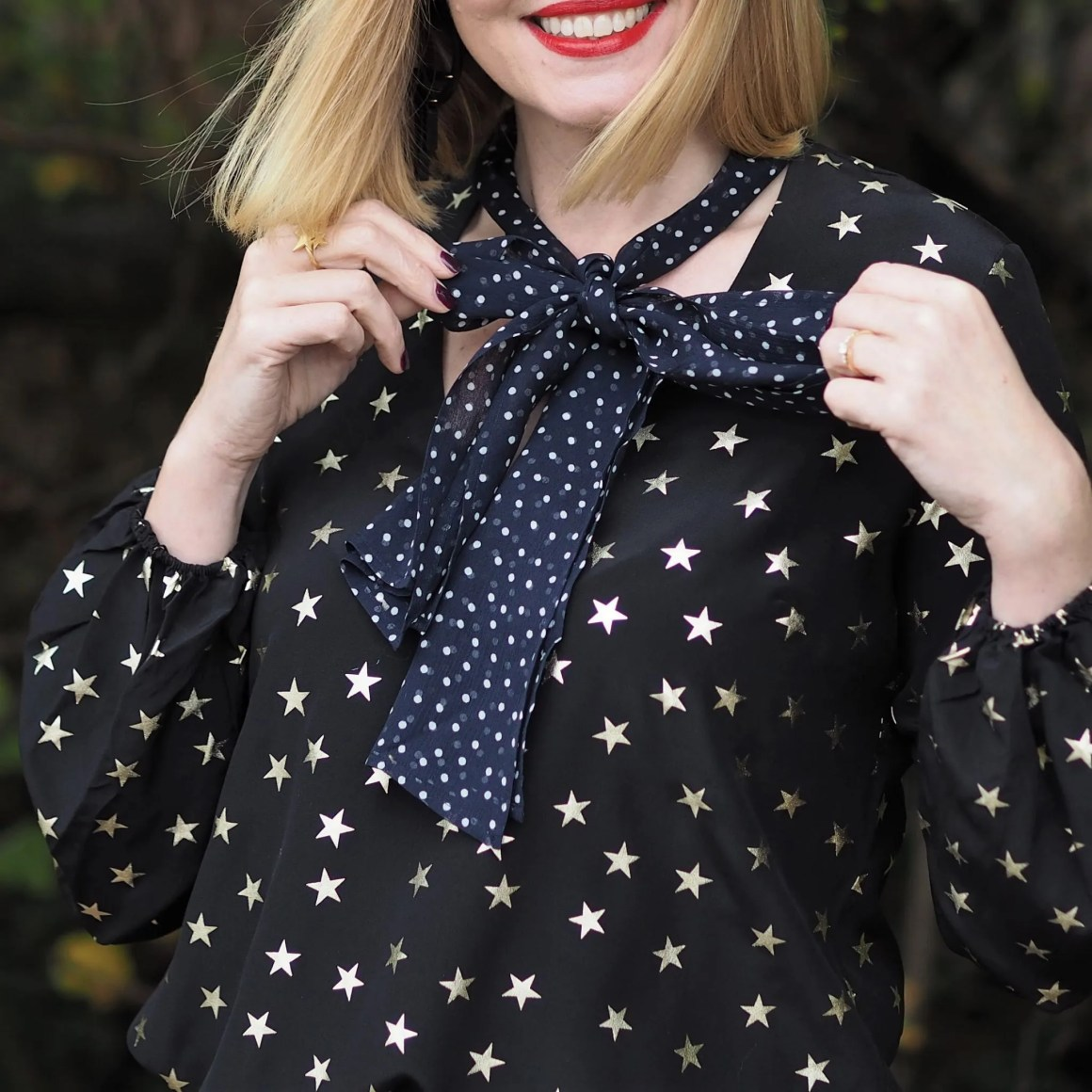 Rixo stars and dot blouse tied in bow