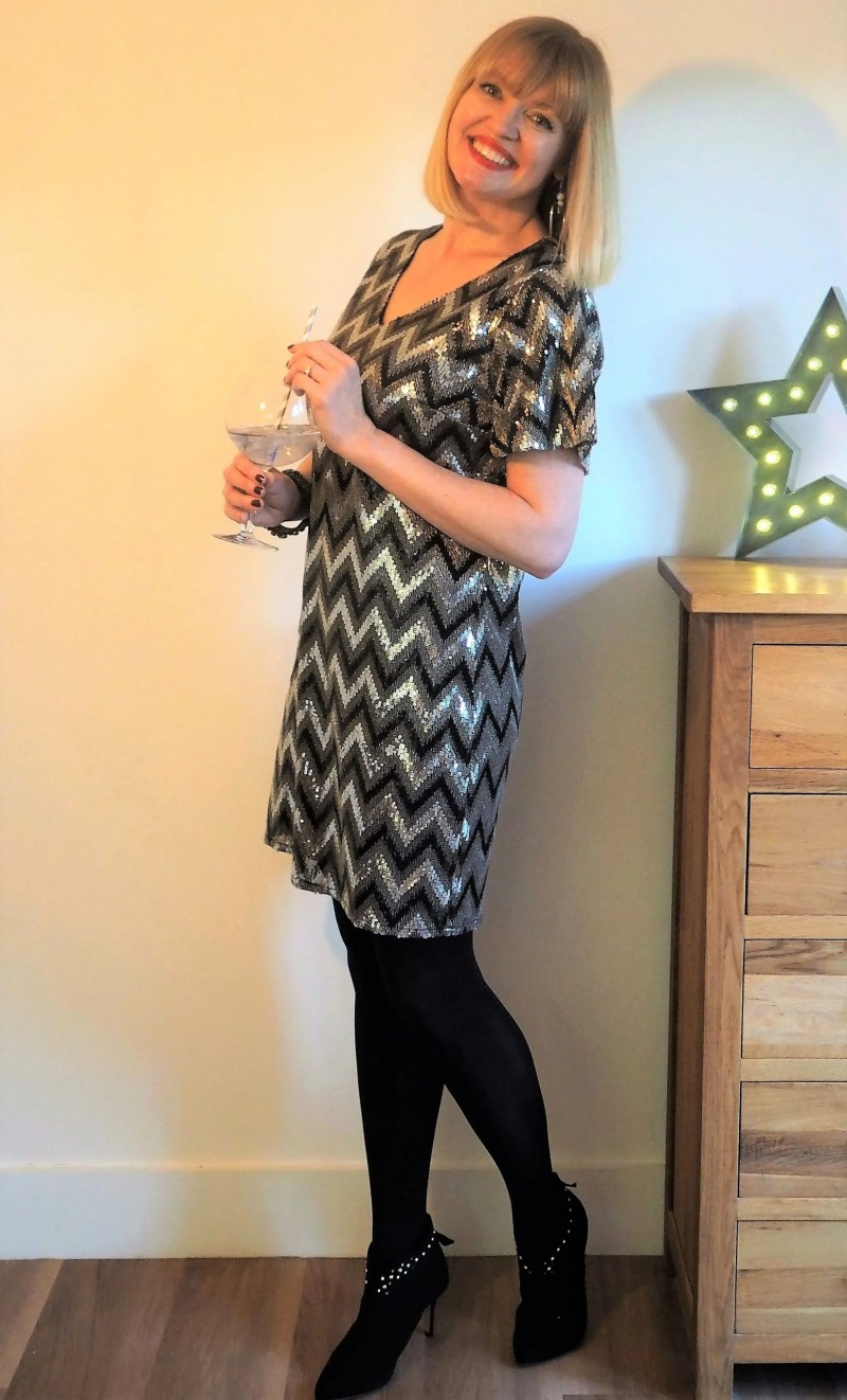 Partywear at JD Williams sequin chevron dress opaque tights ankle boots