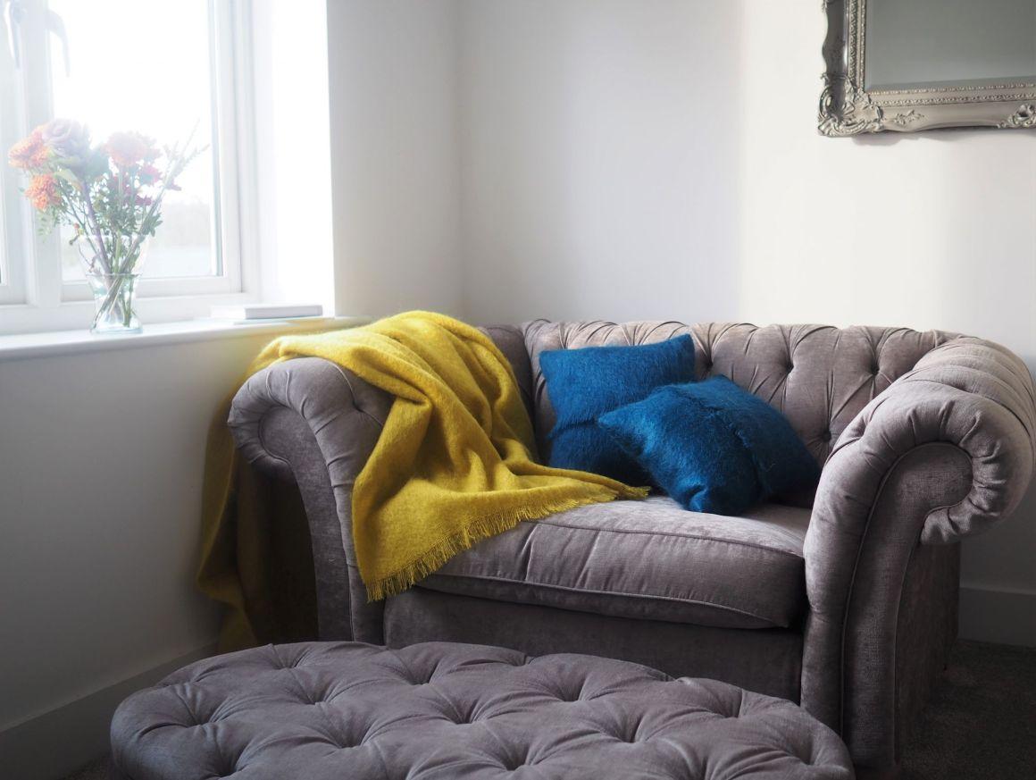Mustard mohair throw mallard cushions