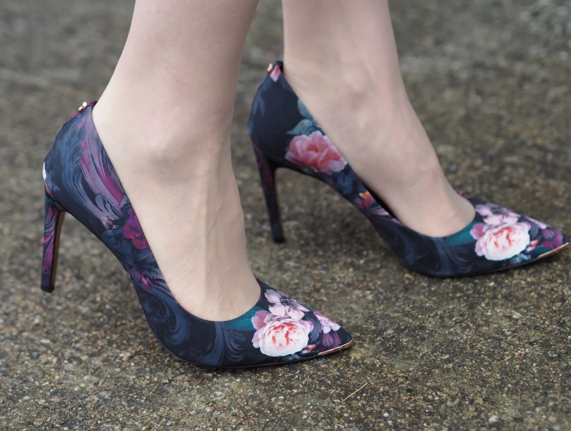 Ted Baker navy and pink floral high-heeled court shoes