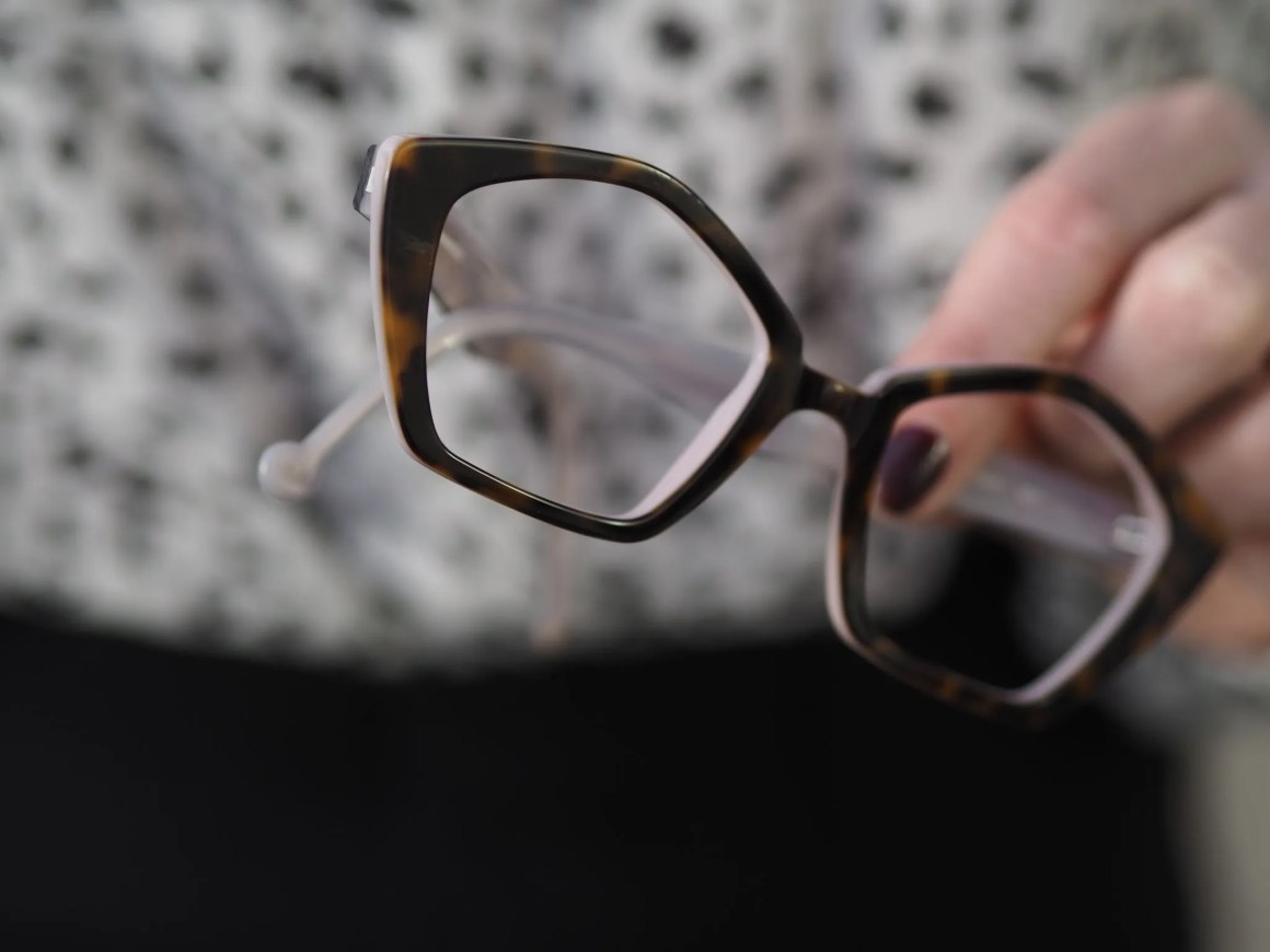 What Lizzy Loves wears snow leopard top and pentagonal spectacle frames
