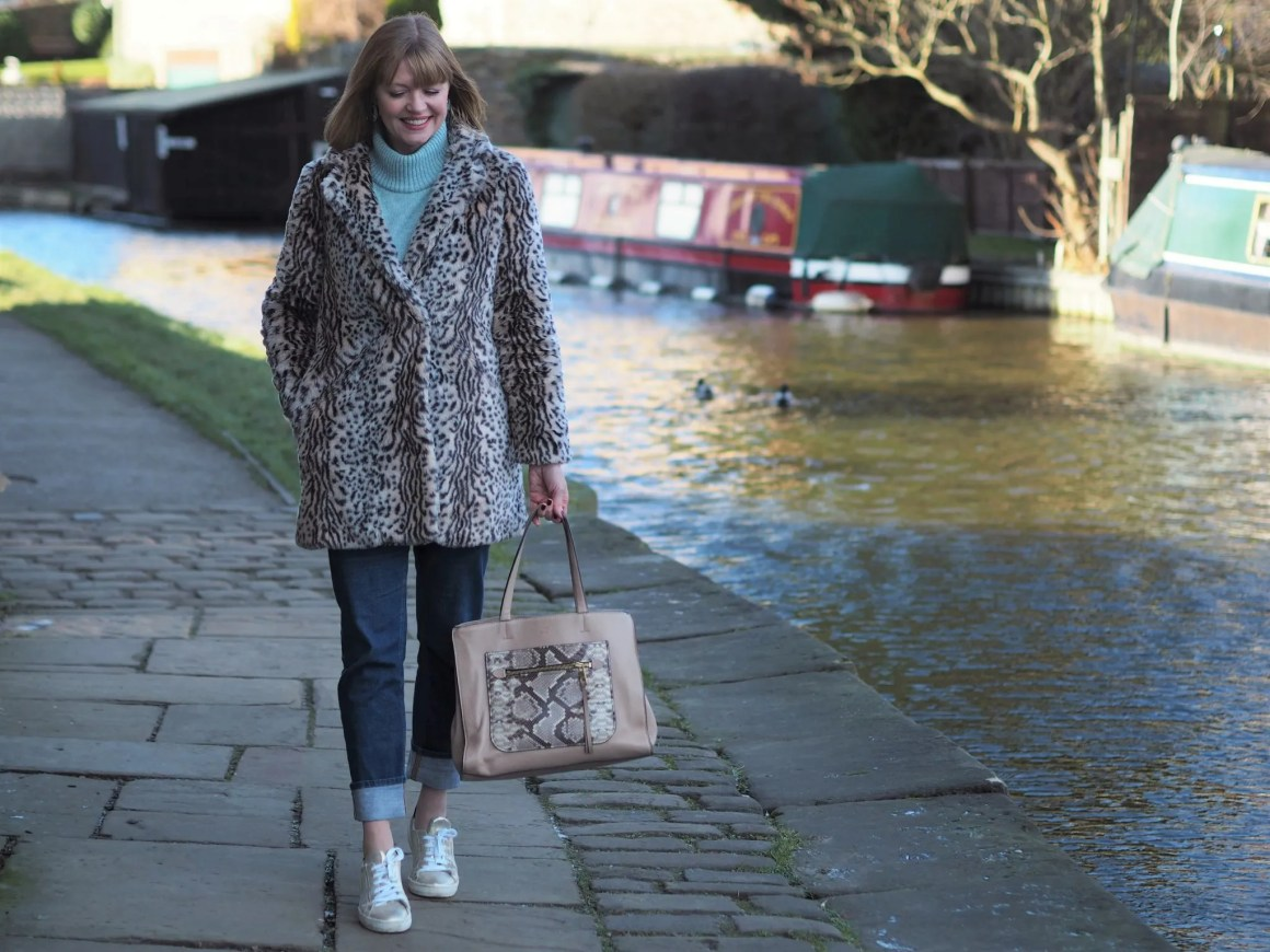 aqua bobble sleeve jumper leopard faux fur coat gold sneakers