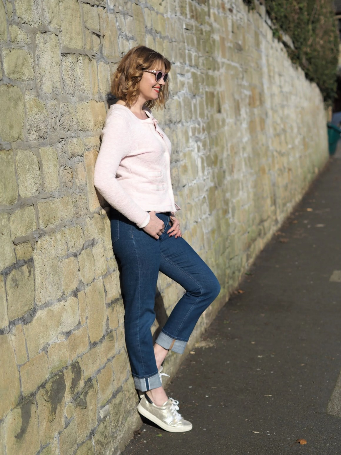 Pala Zola pink marble sunglasses girlfriend jeans and knitted cotton Chanel style jacket