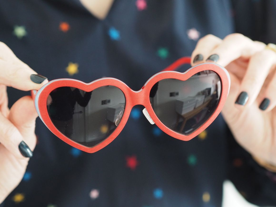 Feb 31st bespoke red heart sunglasses