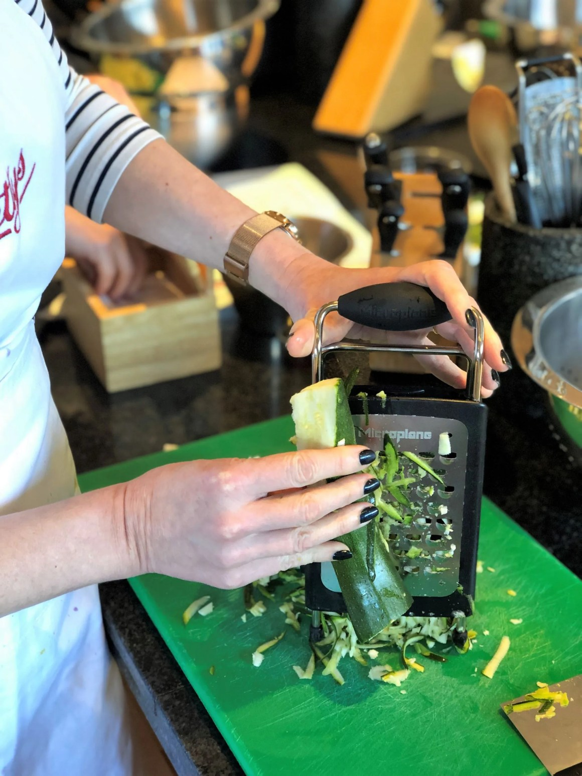 Bettys cookery school review grating courgette