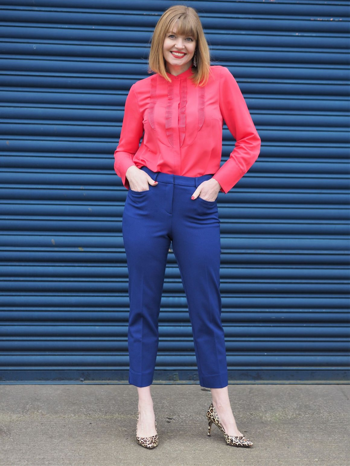 bright pink and cobalt blue trouser outfit