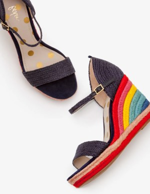Boden Lily Navy Rainbow Espadrille Wedges