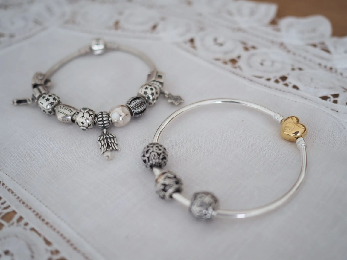 Pandora bracelet and bangle with charms