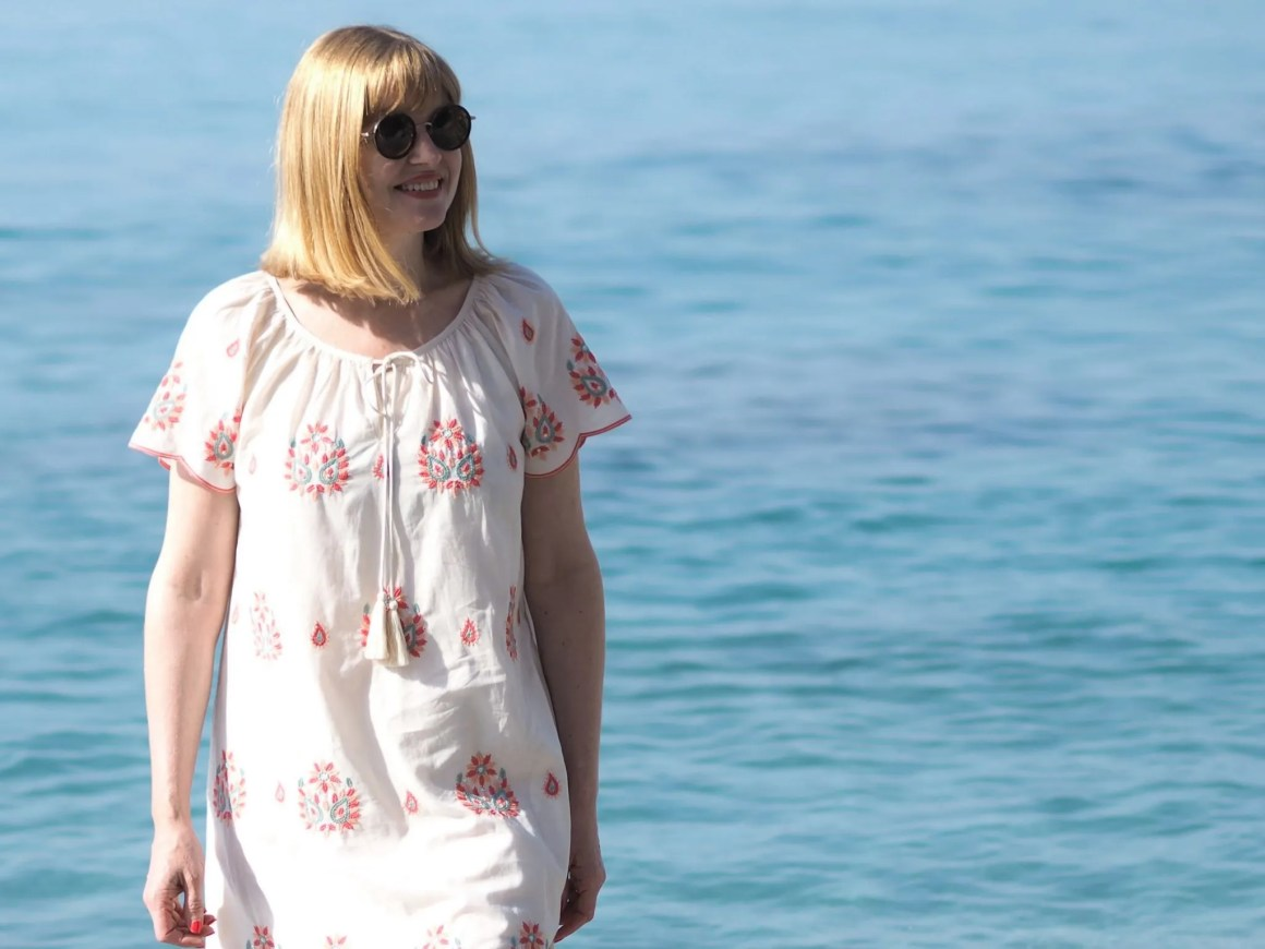 scalloped edge cream beach dress