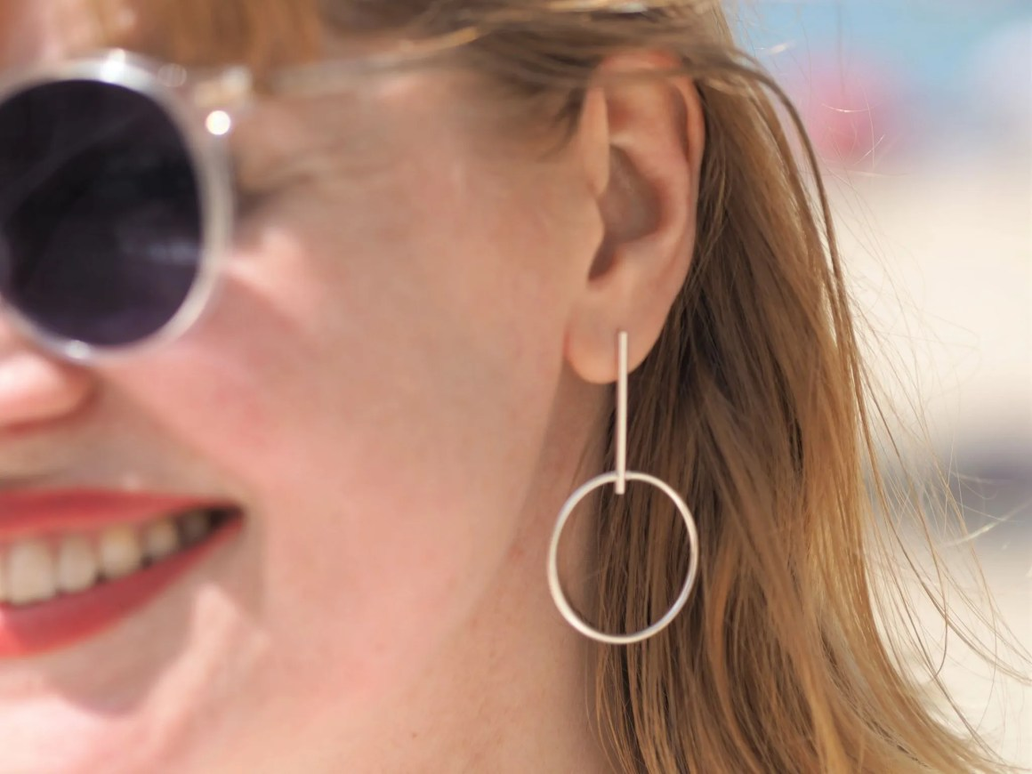 silber Hersey and sons drop hoop silver earrings