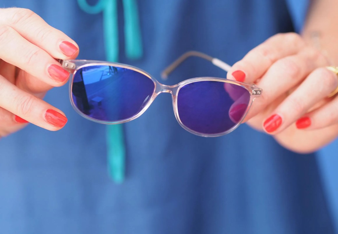 clear stepper eyewear with purple lenses