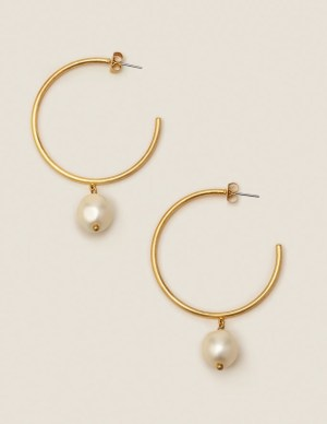 Boden Glass Pearl Hoops