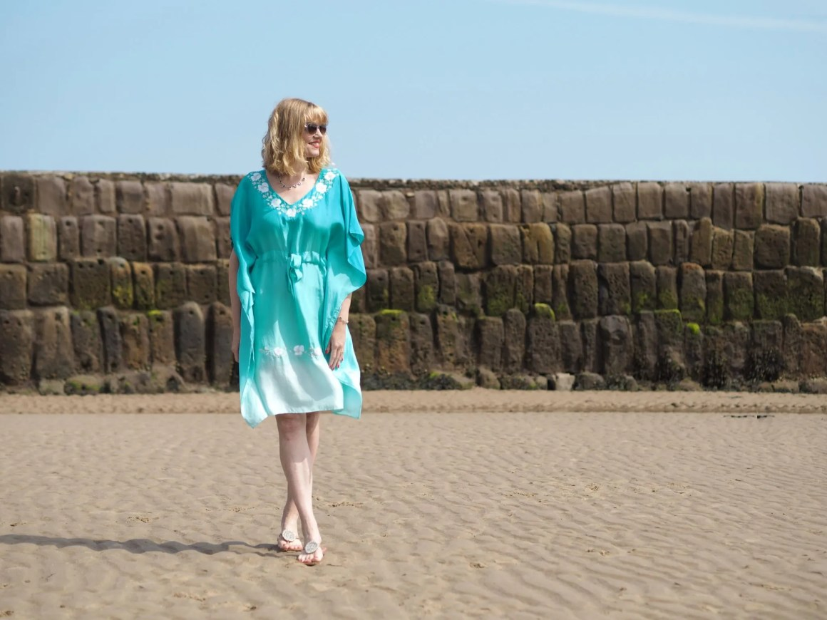turquoise ombre silk kaftan dress