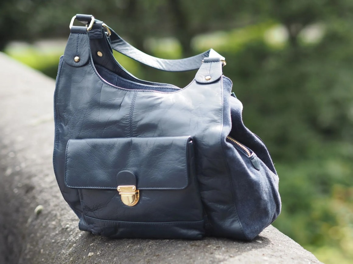Navy leather hobo bag