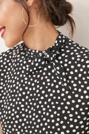 Black Spot Tie Neck Top