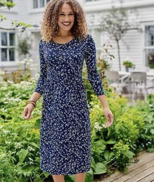 Woolovers Rouched Navy Spot Dress