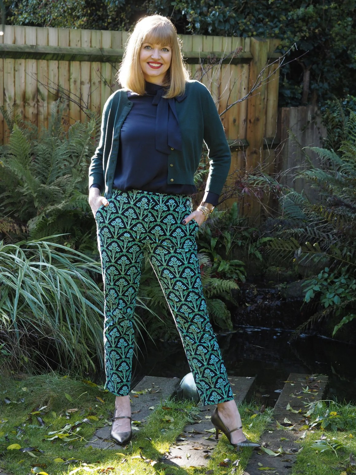 Boden cropped green cardigan