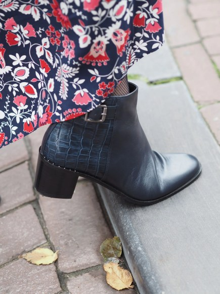 navy croc ankle boots