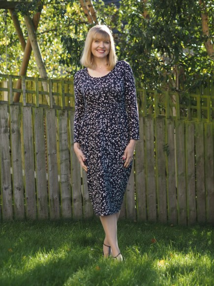 navy spotted dress for work