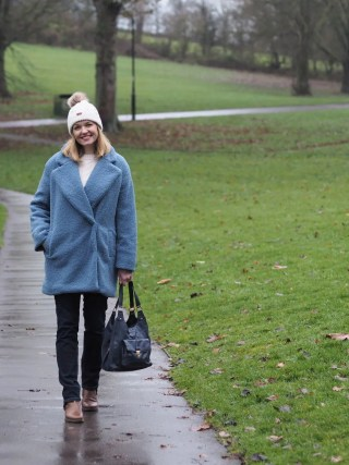 Blue teddy borg coat with jeans and boots