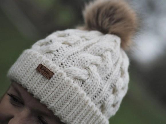 cream pompom cable hat