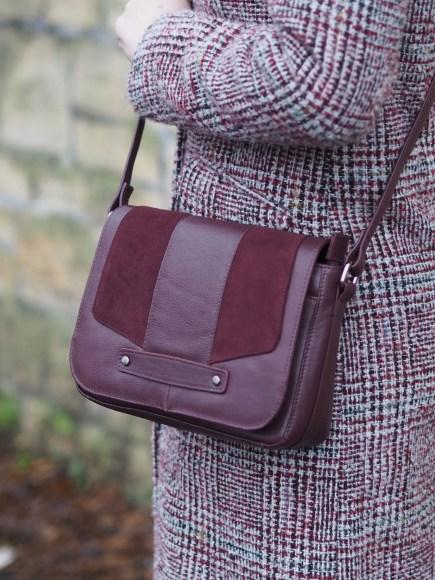 Burgundy cross body bag