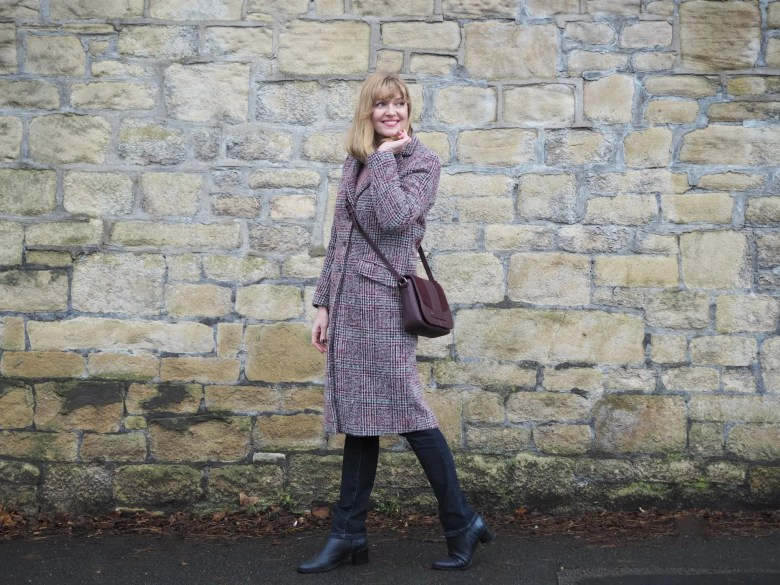 Burgundy winter tweed coat