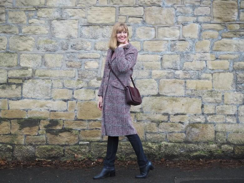 Burgundy winter tweed coat