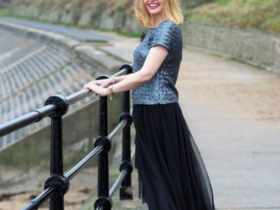 Black tulle skirt and sequin top