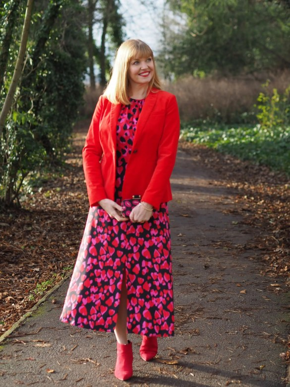 christmas day outfit red velvet blazer heart print dress