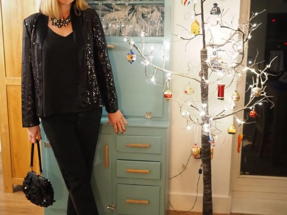 black sequin tuxedo christmas party outfit