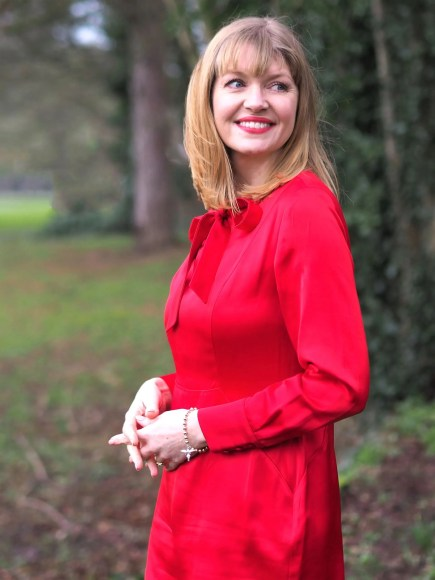 Boden red satin dress with bow