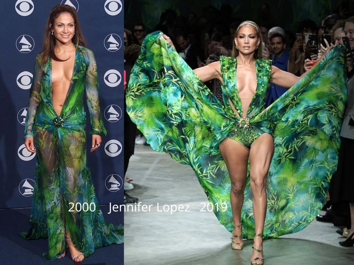 Jennifer Lopex green Versace dress 2000 and 2019