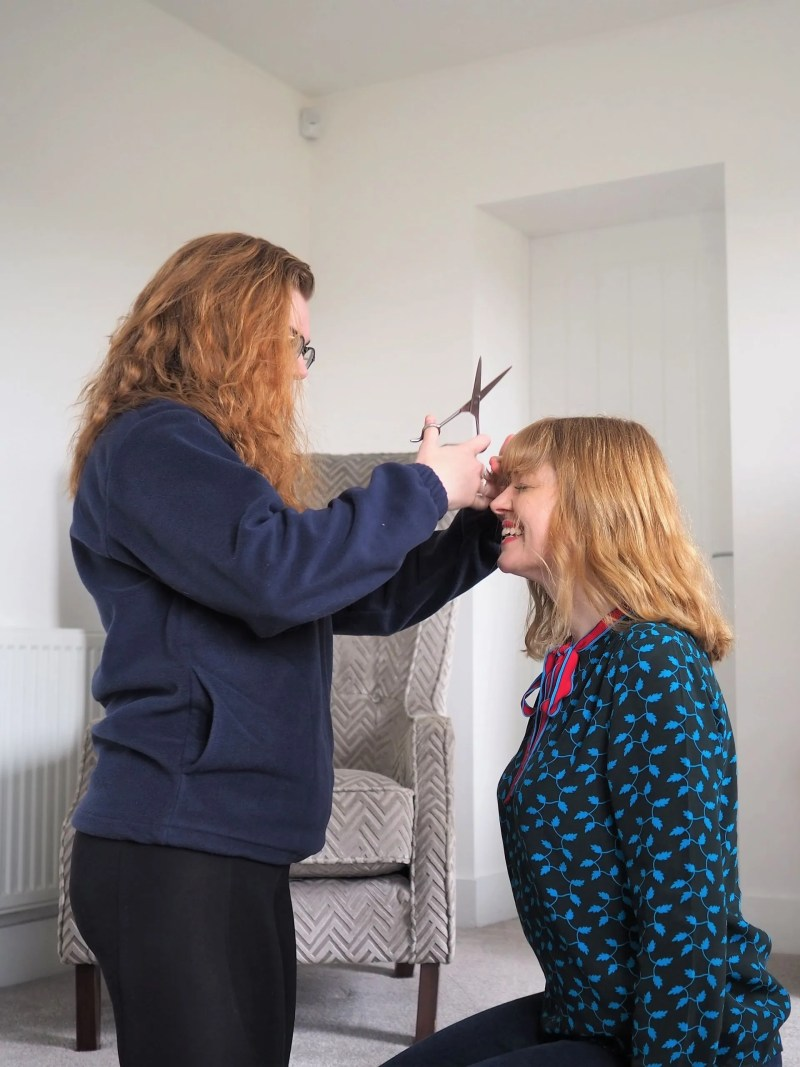 woman having fringe trim