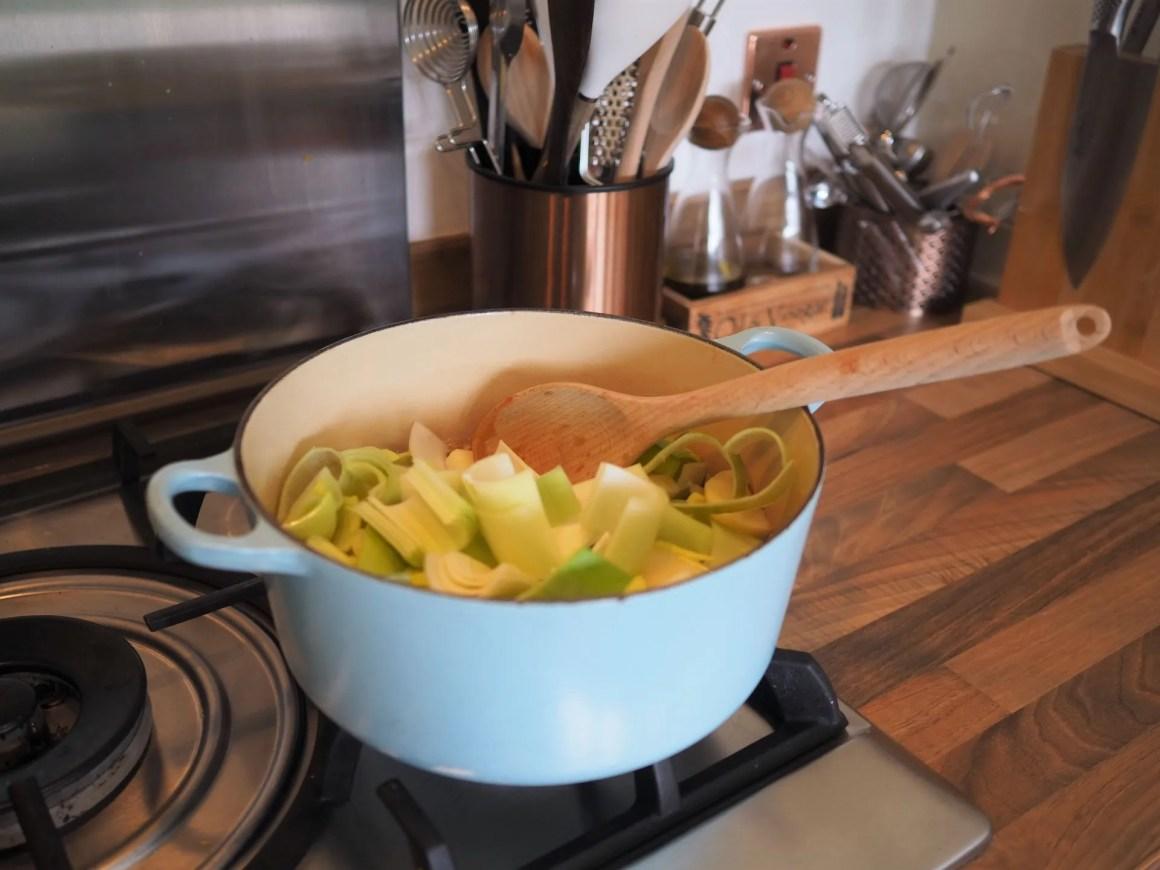 leeks in a saucepan