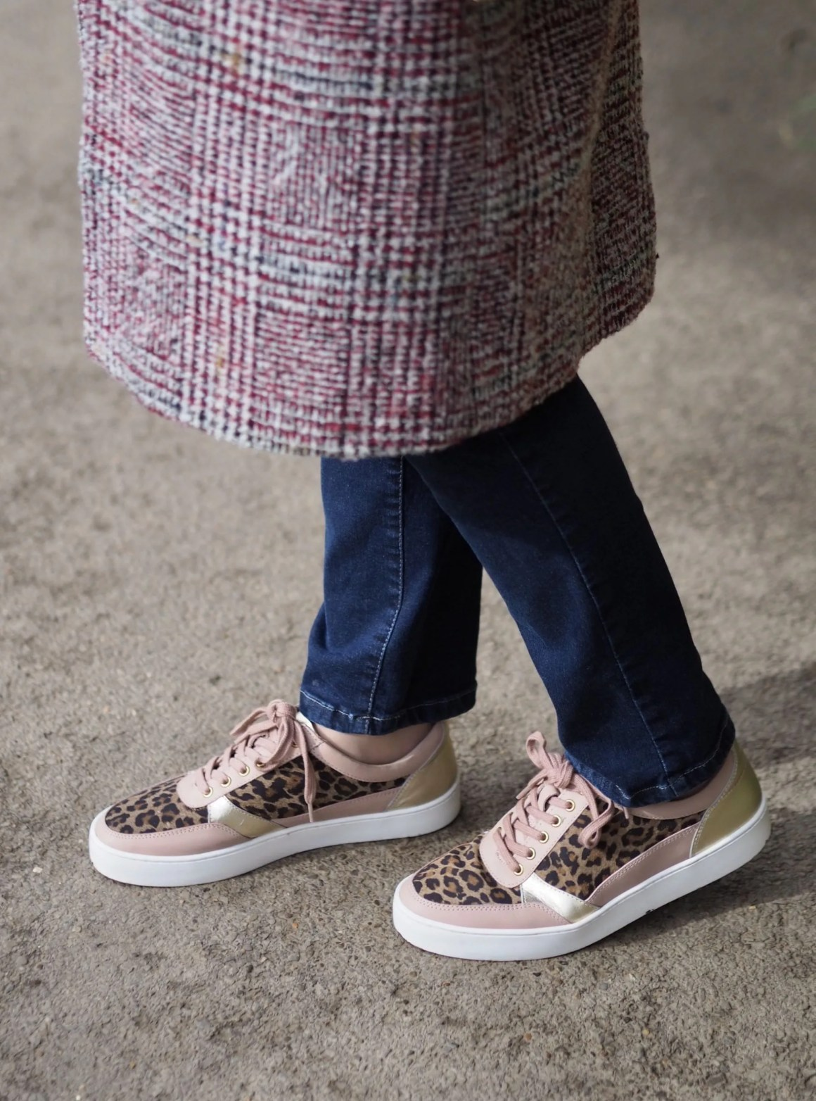 stress;es by Lotus pink leather leopard print trainers