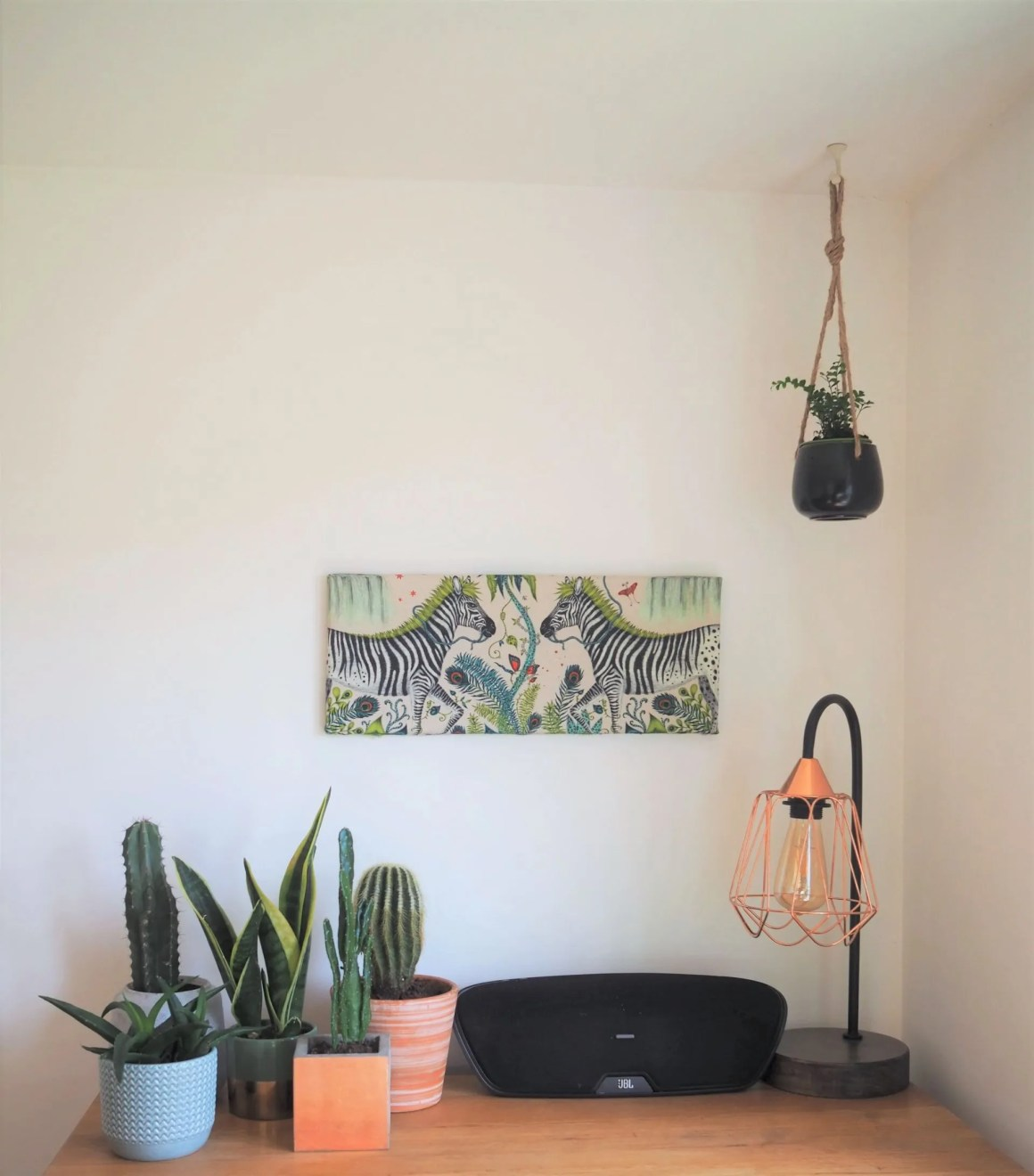 cactus plants and canvas picture of zebras with fabric by Emma J Shipley